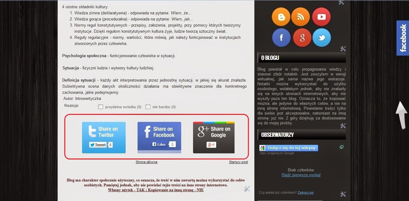 Social Sharing Widget pod postem