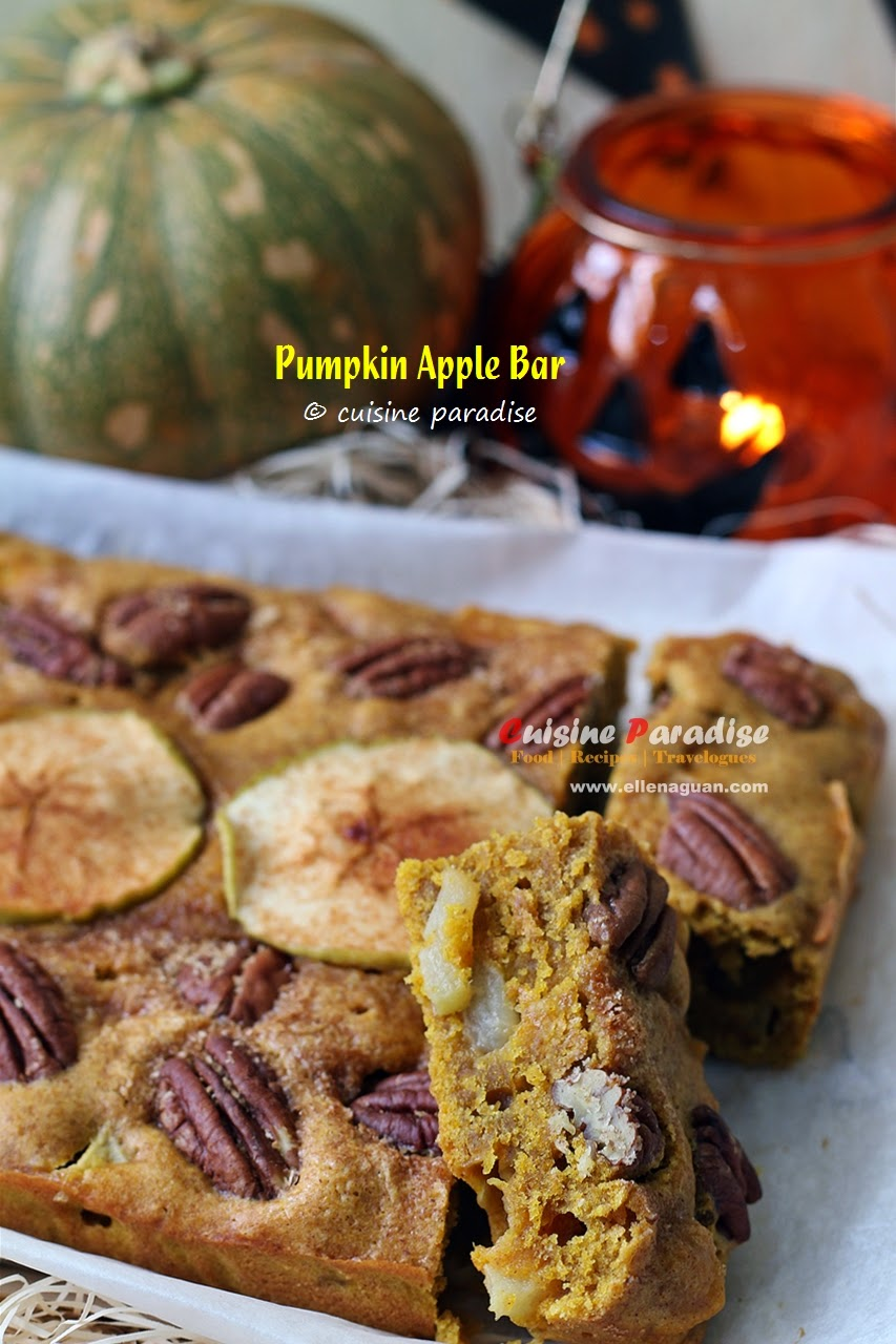 [fall recipes] pumpkin apple bar - 南瓜苹果蛋糕