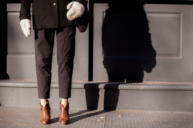 Tibi pinstrip crop pant Rag & Bone Harrow boots brown leather H&M faux fur mittens
