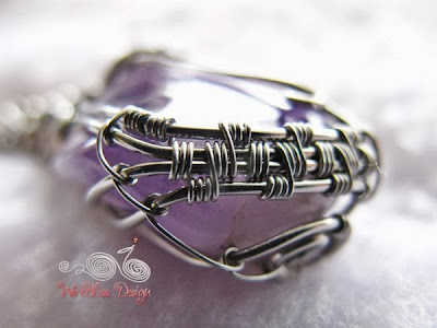 Wire Wrap Amethyst Pendant Bottom View by WireBliss