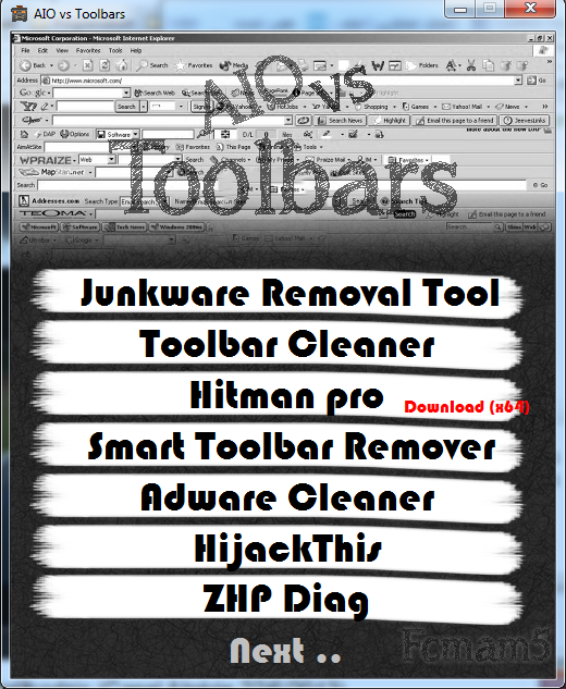 Toolbars removing list