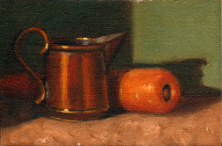 Oil painting of a small copper jug beside a carrot.