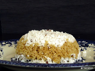 Puttu-kerala breakfast made with wheat  flour and coconut