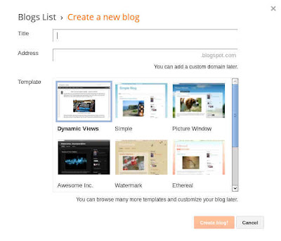 create a new blog form