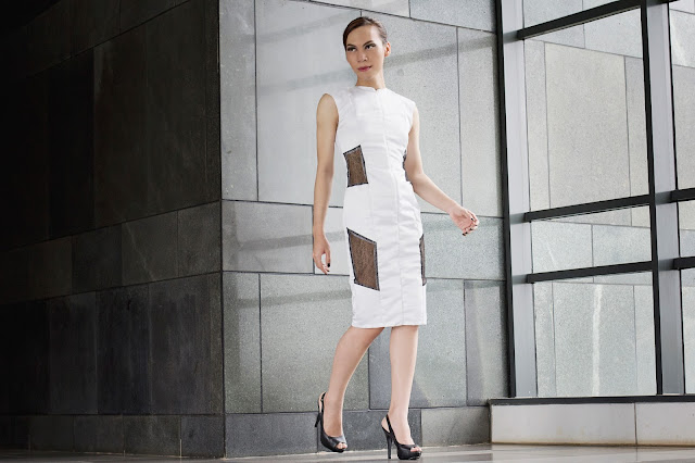 white duchess satin sleeveless dress with black lace detail