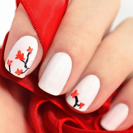 Decoración de uñas pintadas de árbol cereza | Uñas pintadas fáciles