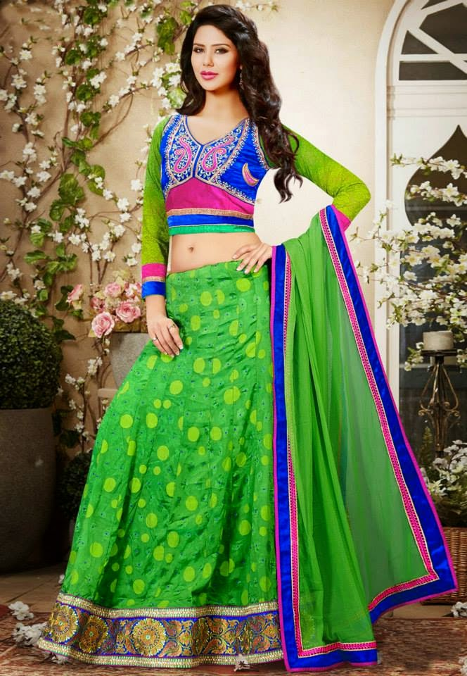 Green Viscose Faux Georgette Lehenga Choli with Dupatta.
