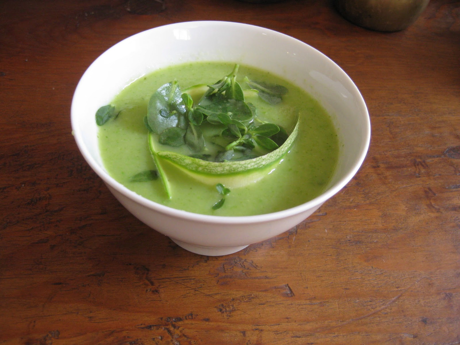 Flavors of the Sun: Chilled Zucchini Soup with Purslane