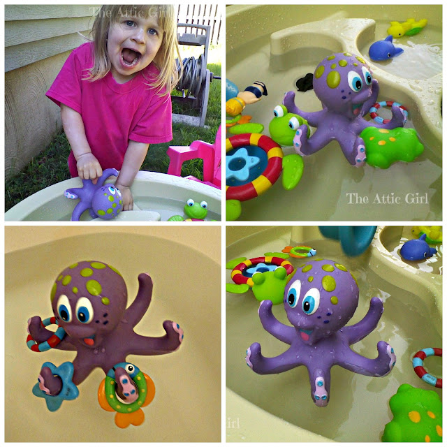 Bath toys, water table play, summer activities