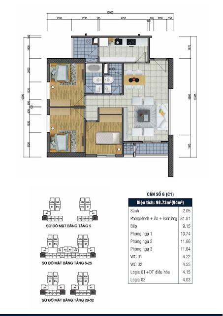 Thiết kế căn hộ số 6 - Chung cư Goldsilk Complex Vạn Phúc