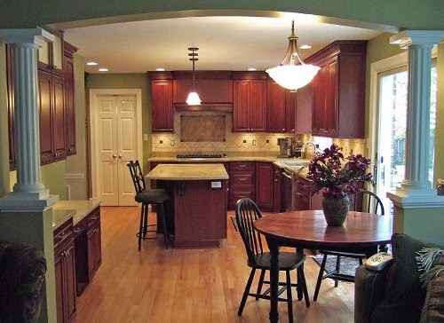 small cool kitchens with wooden floor