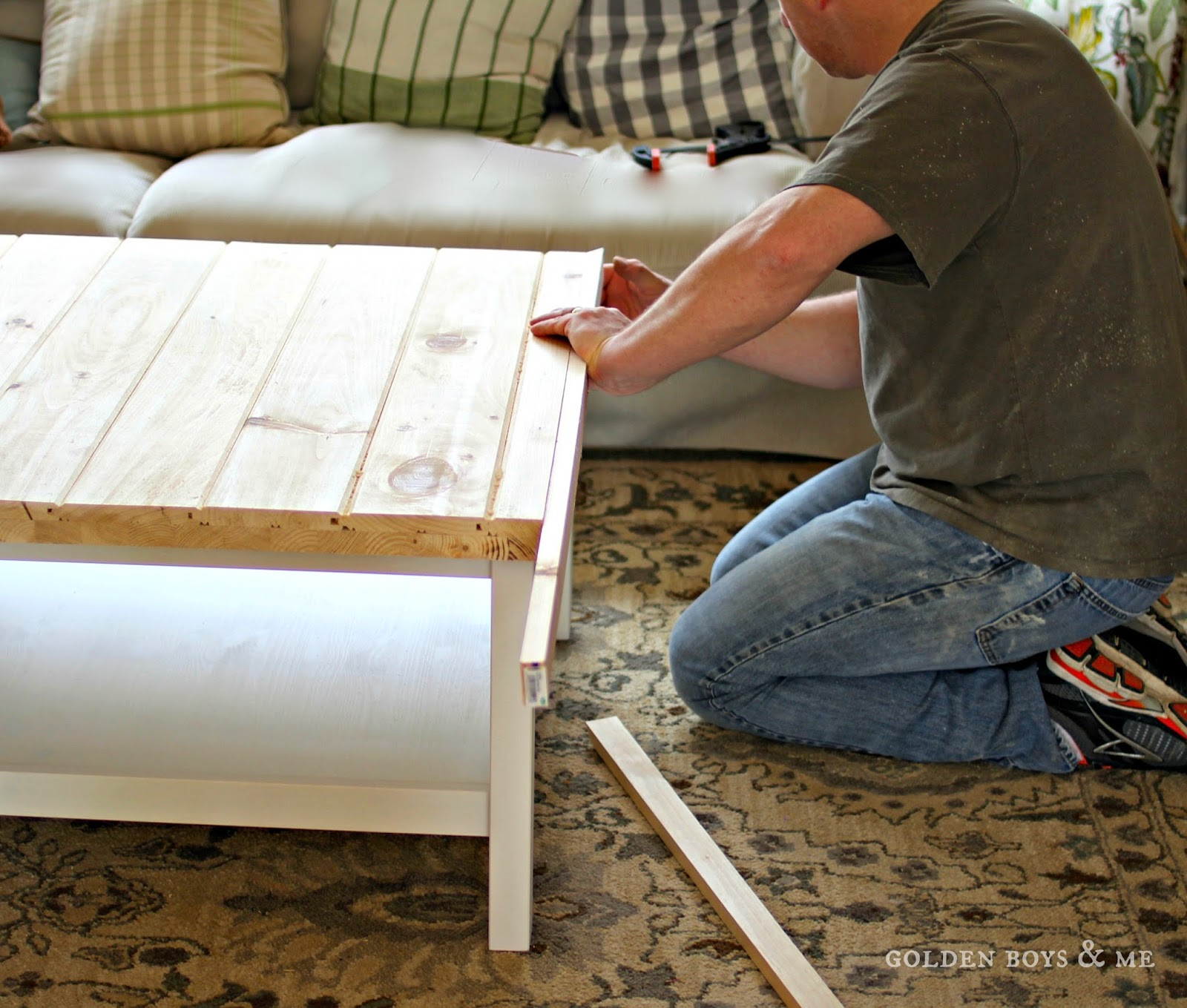tongue and groove pine planks coffee table top - www.goldenboysandme.com