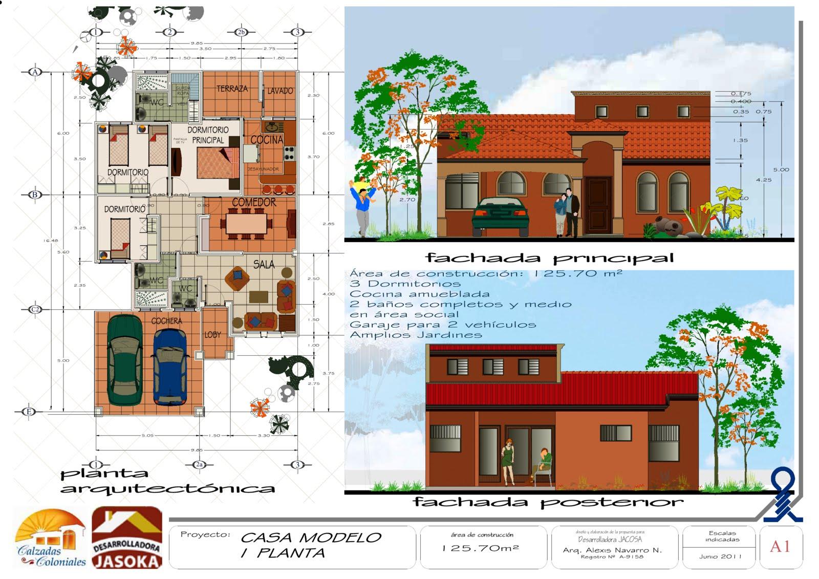 Proyectos casa modelo 1 planta para jocosa condominio - Modelo de casas de una planta ...