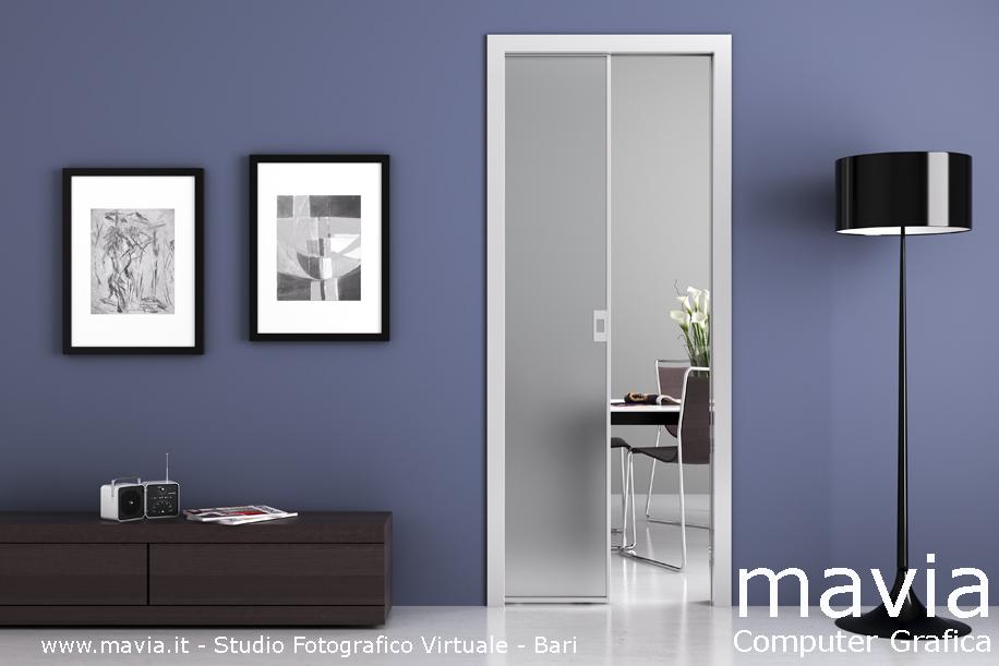 Arredamento di interni porte 3d e rendering pubblicitari - Porta scorrevole vetro satinato ...