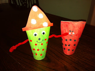 two spotty monsters created from empty toilet roll tubes