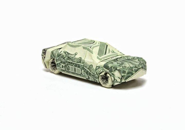 Origami Dollar bentuk mobil