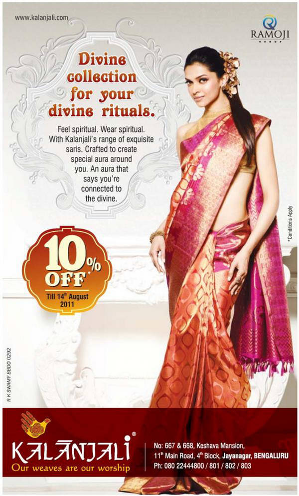 Deepika Padukone Wear Kalanjali Sari - Saree Collection