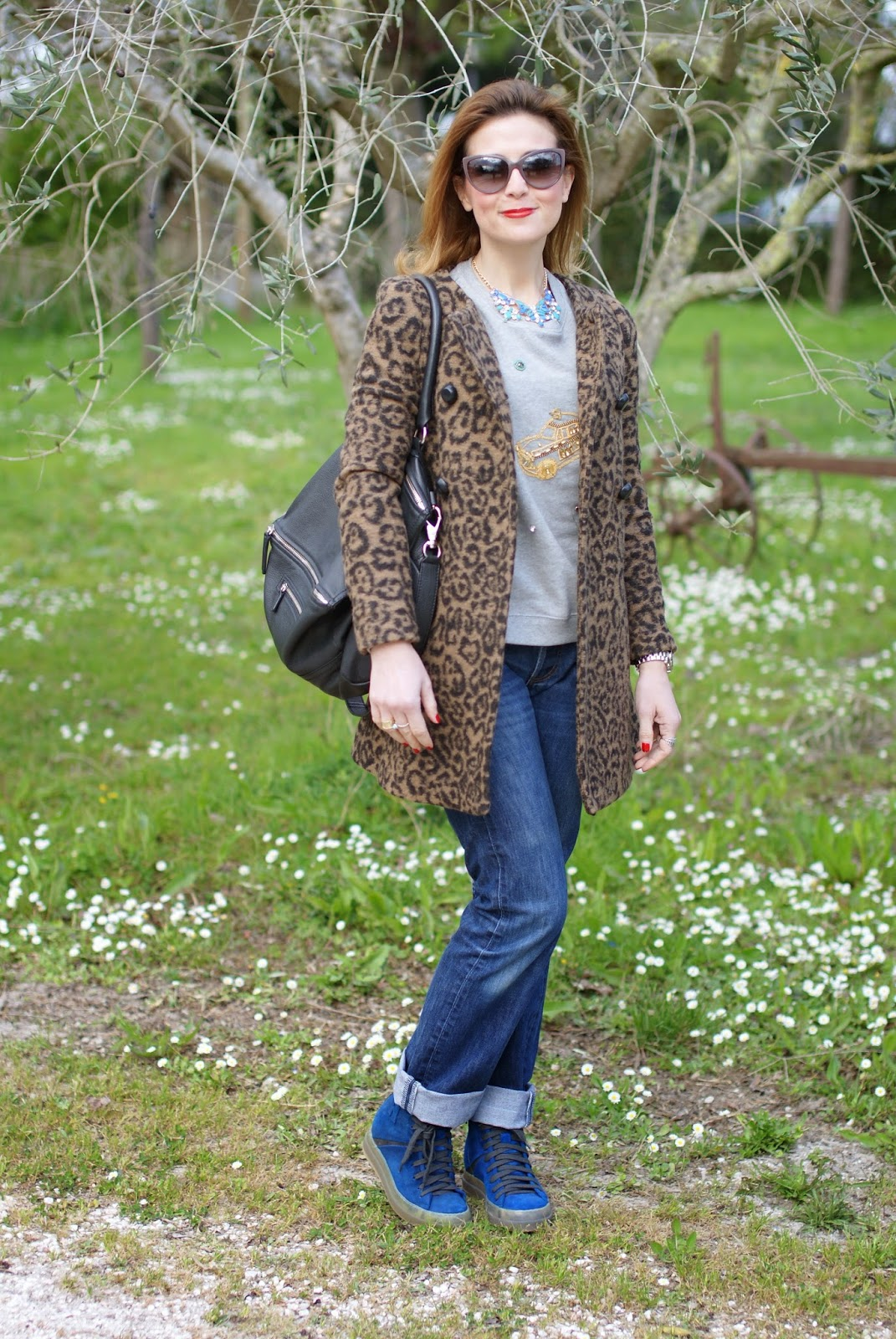 comfortable outfit, leopard coat, Ruco Line sneakers, Givenchy Pandora, Fashion and Cookies, fashion blogger
