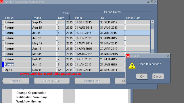 Period open process in Inventory, askhareesh blog for Oracle Apps