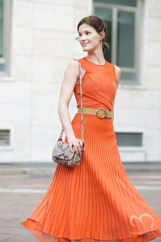 Hanneli Mustaparta wears Salvatore Ferragamo dress and bag during Milan Fashion Week 2015-2016 MFW
