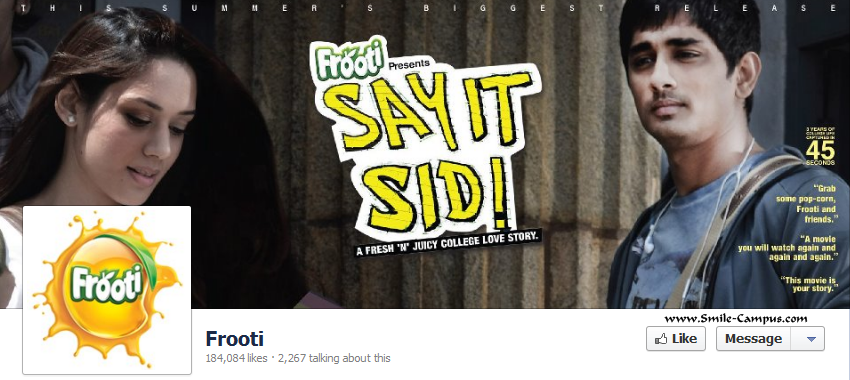 Facebook page of Frooti
