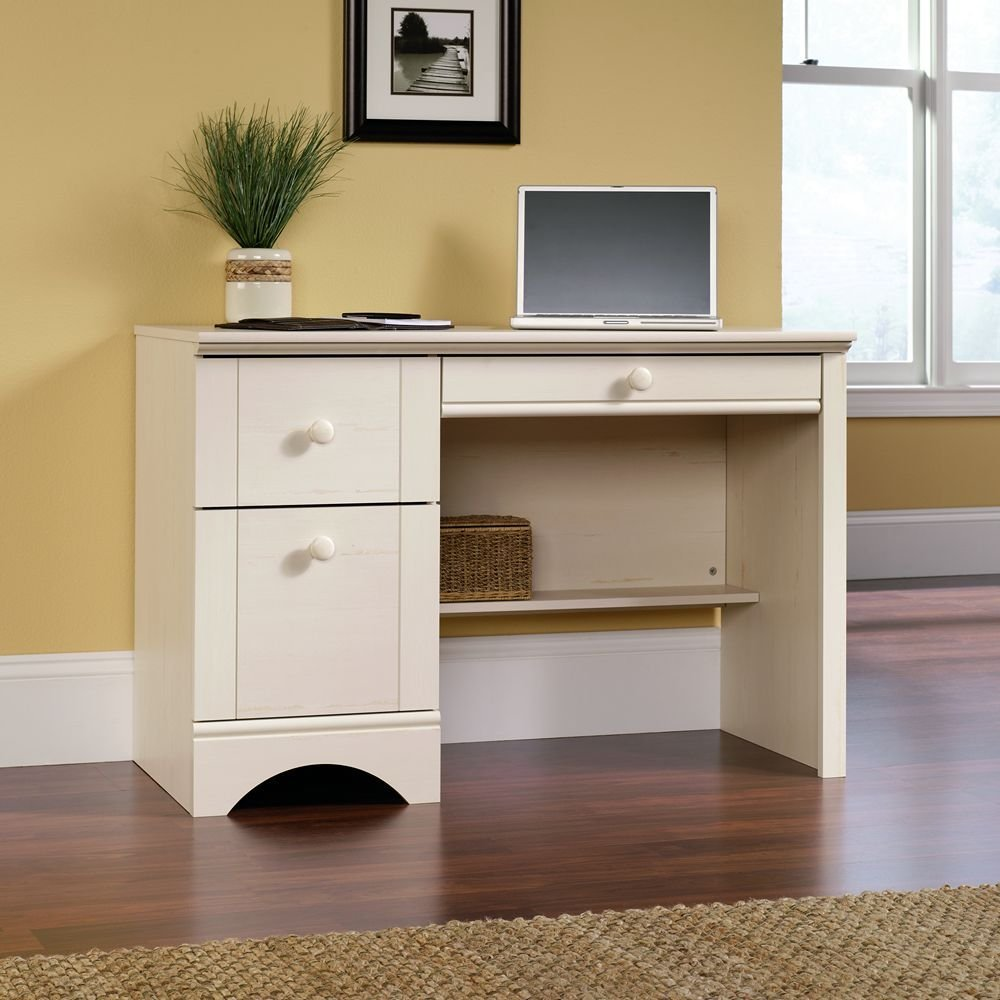 Small Home Office Desk With File Drawer In Creamy White Wood Finish
