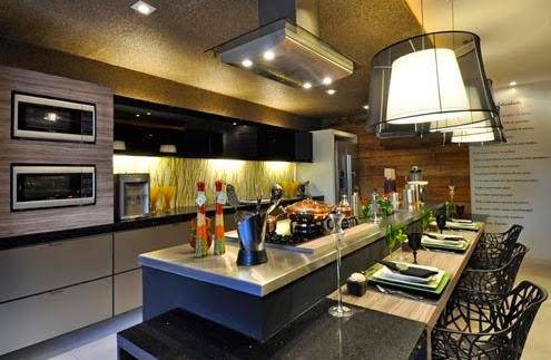 Minha casa na serra cozinhas integradas sala de jantar for Cascadas artificiales modernas