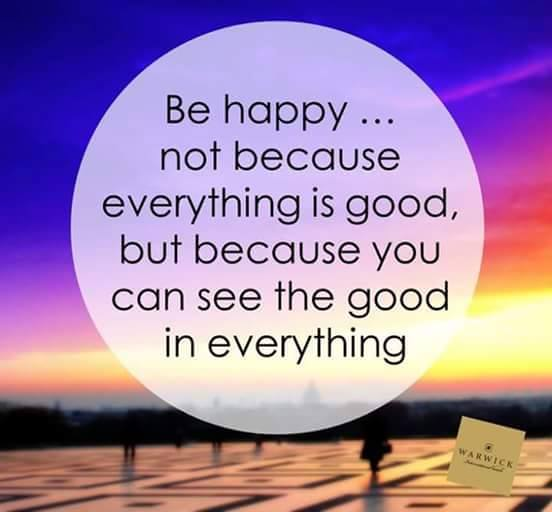 Be happy.. not because..