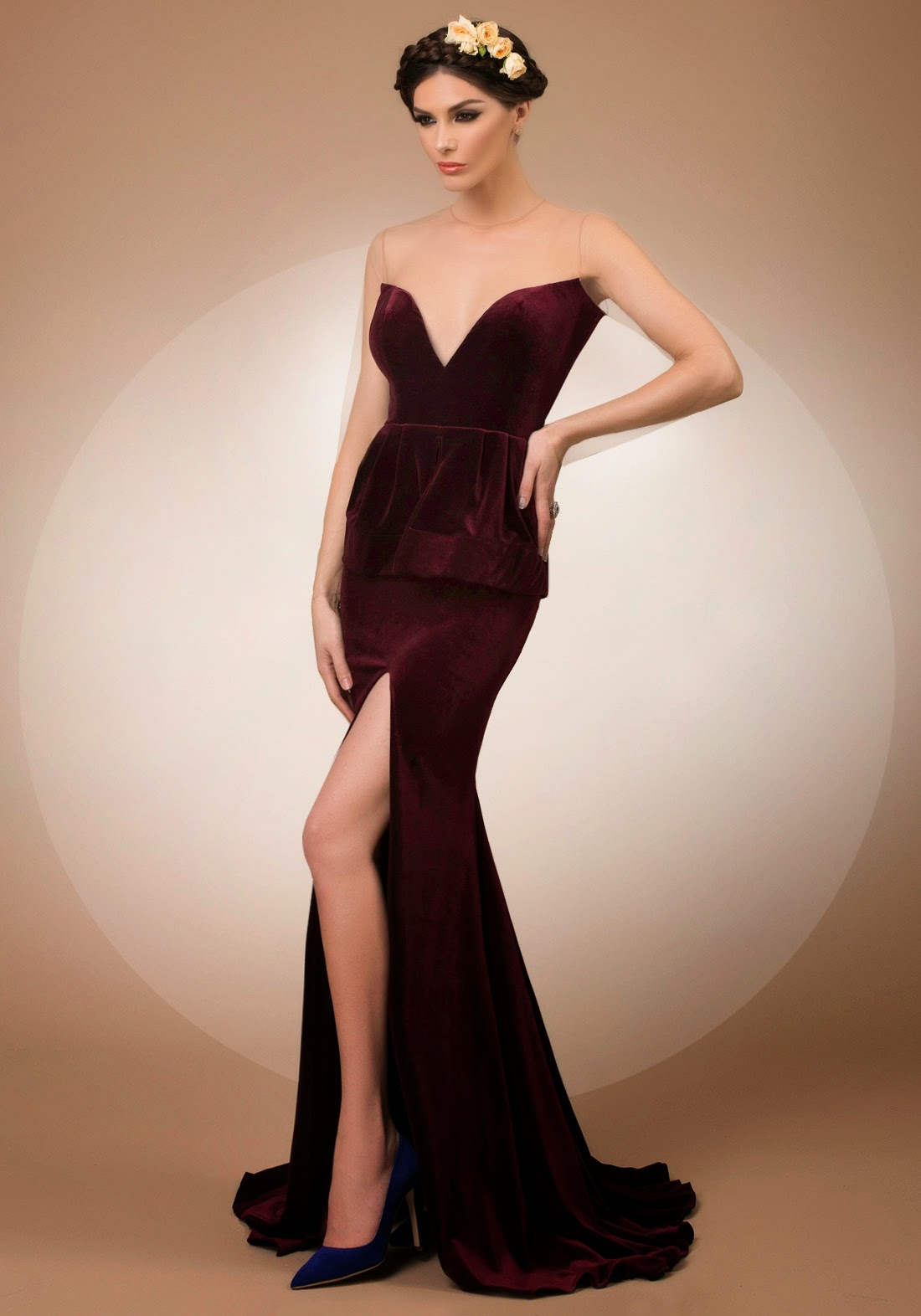 My Secret Admirer, mermaid velvet evening dress with portrait back, Bien Savvy My Secret collection