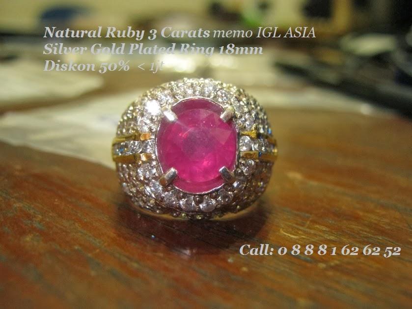 Cincin Perak Batu Ruby 3 carat