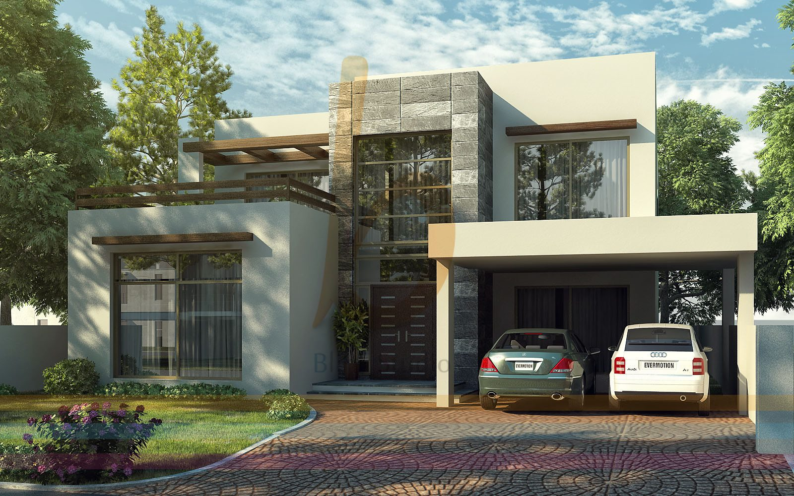 3d front dha lahore 1 kanal modern contemporary house design 3d front elevatin - Latest design modern houses ...