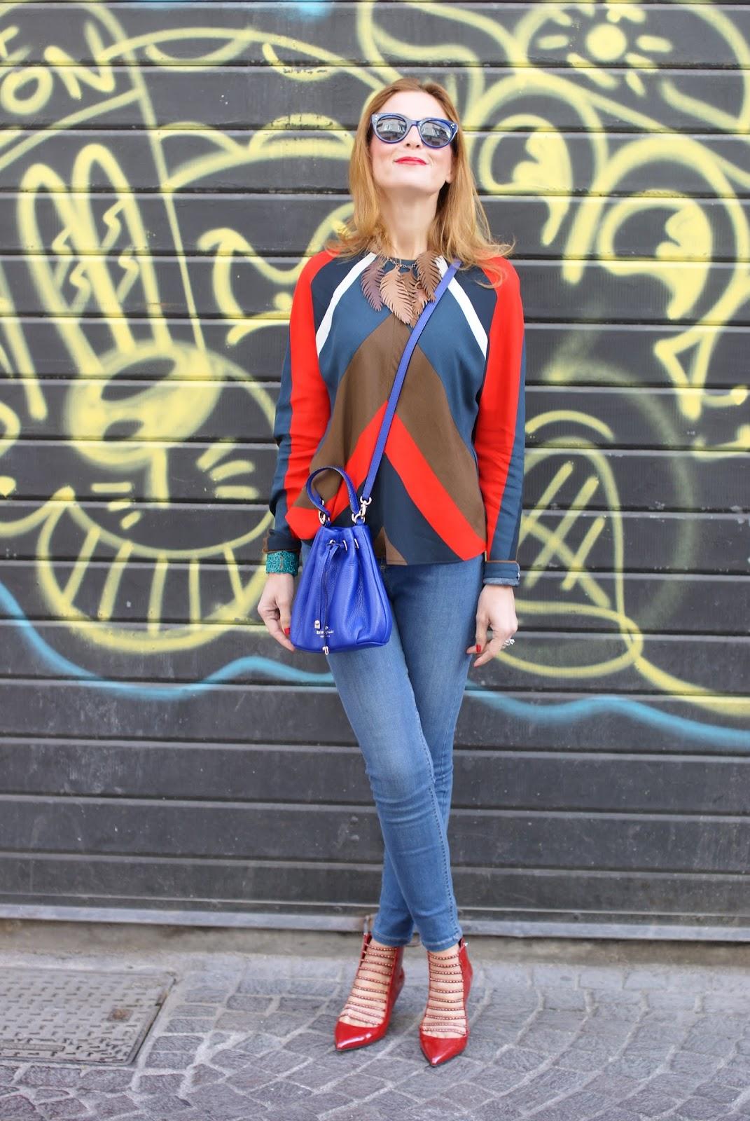 Kate Spade Wyatt mini bucket bag and Le Silla kitten heels on Fashion and Cookies fashion blog, fashion blogger style