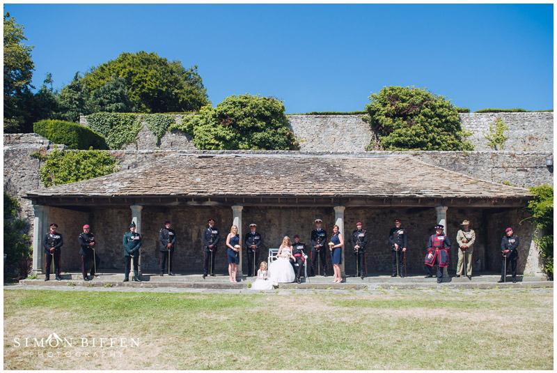 Wedding group photo St Donat's Castle