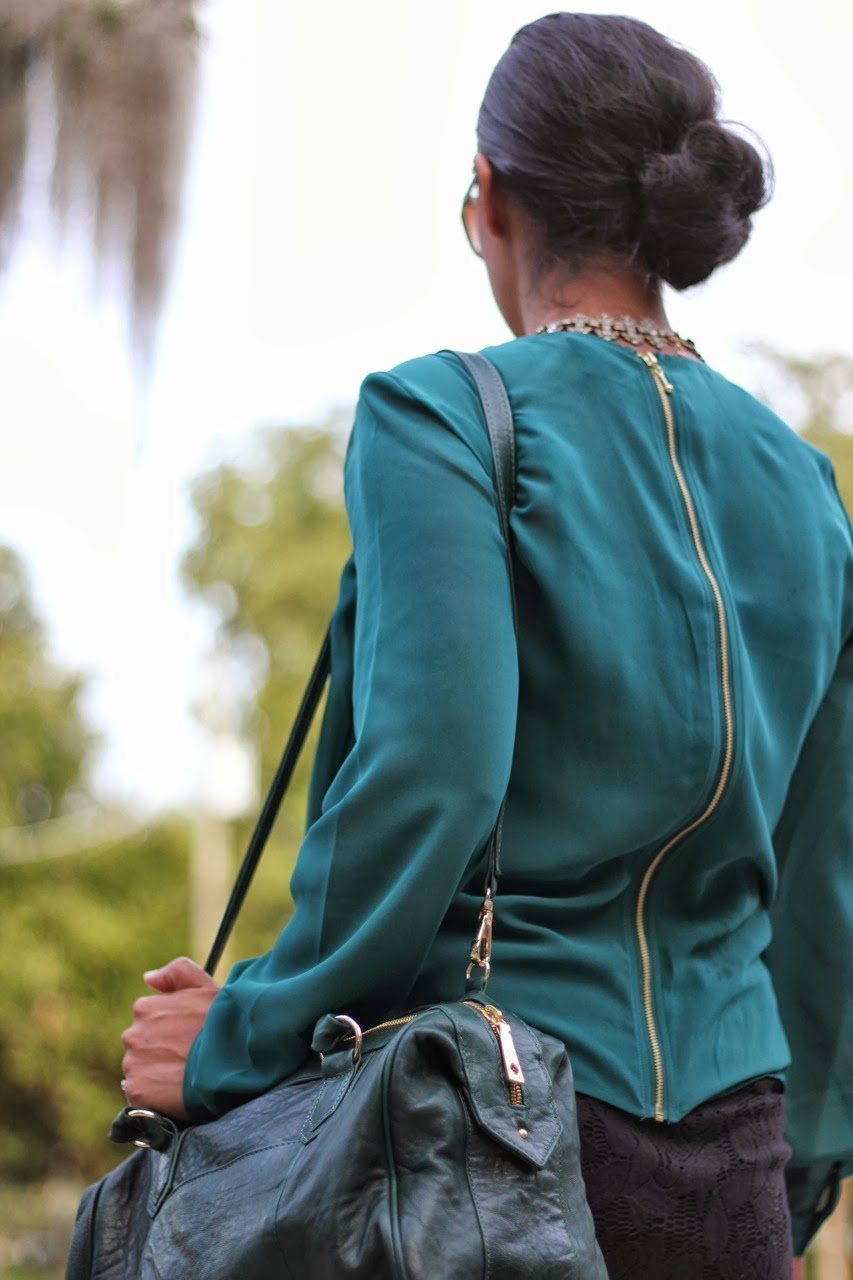 sock bun green sheer top blouse lace pencil skirt joe's jeans ankle strap pump lauren merkin bag chanel sunglasses