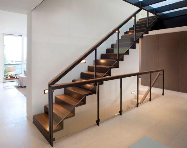 Modernos dise os de escaleras iluminadas ideas para - Disenos de escaleras de madera para interiores ...