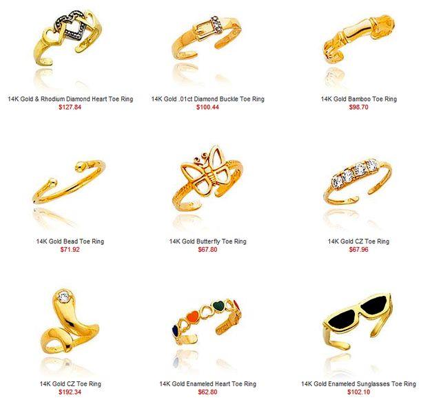 BestFootJewelry.com - Gold Toe Rings