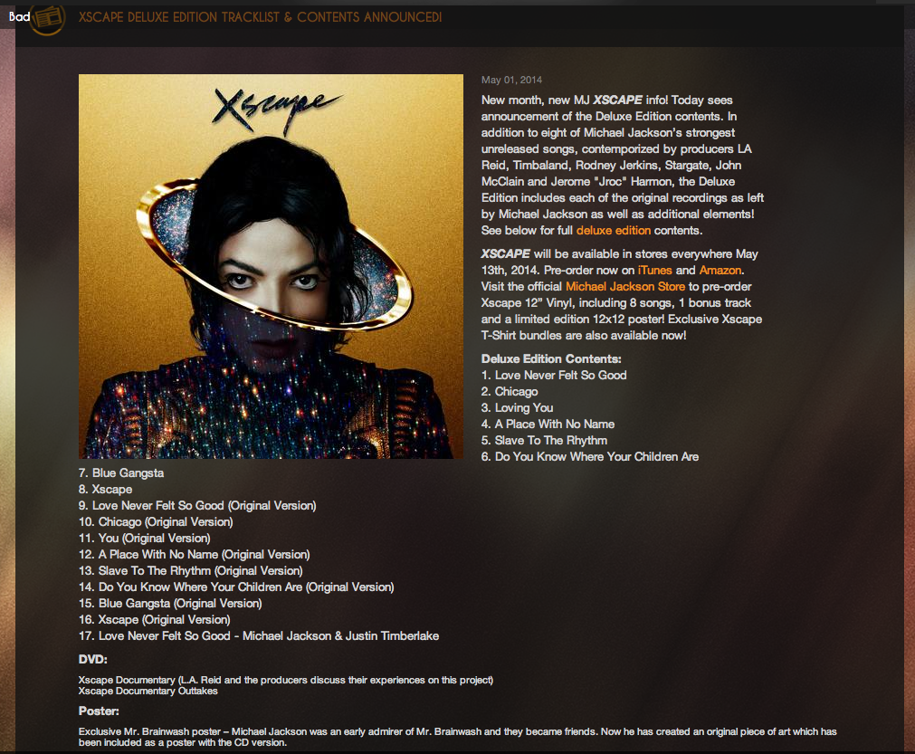 01  Love Never Felt So Good  3 55 Xscape Michael Jackson Deluxe