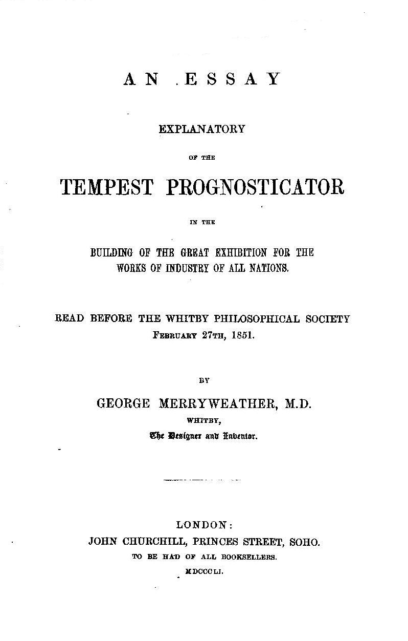 the study the polished prognosticator of the playful physician g merryweather an essay explanatory of the tempest prognosticator