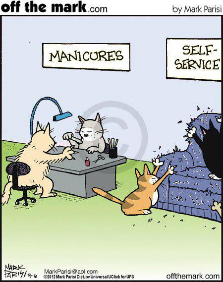 Cat Manicures by Mark Parisi  @ offthemark.com
