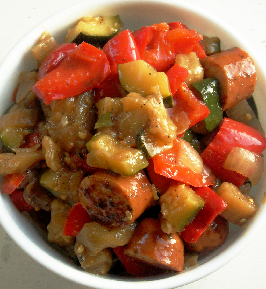 Summer Vegetables and Sausage (adapted from Skinnytaste )