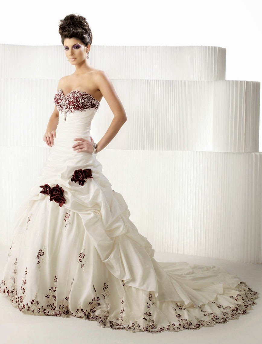 Expensive White Rose Wedding Dresses Long Trains Photos HD Ideas