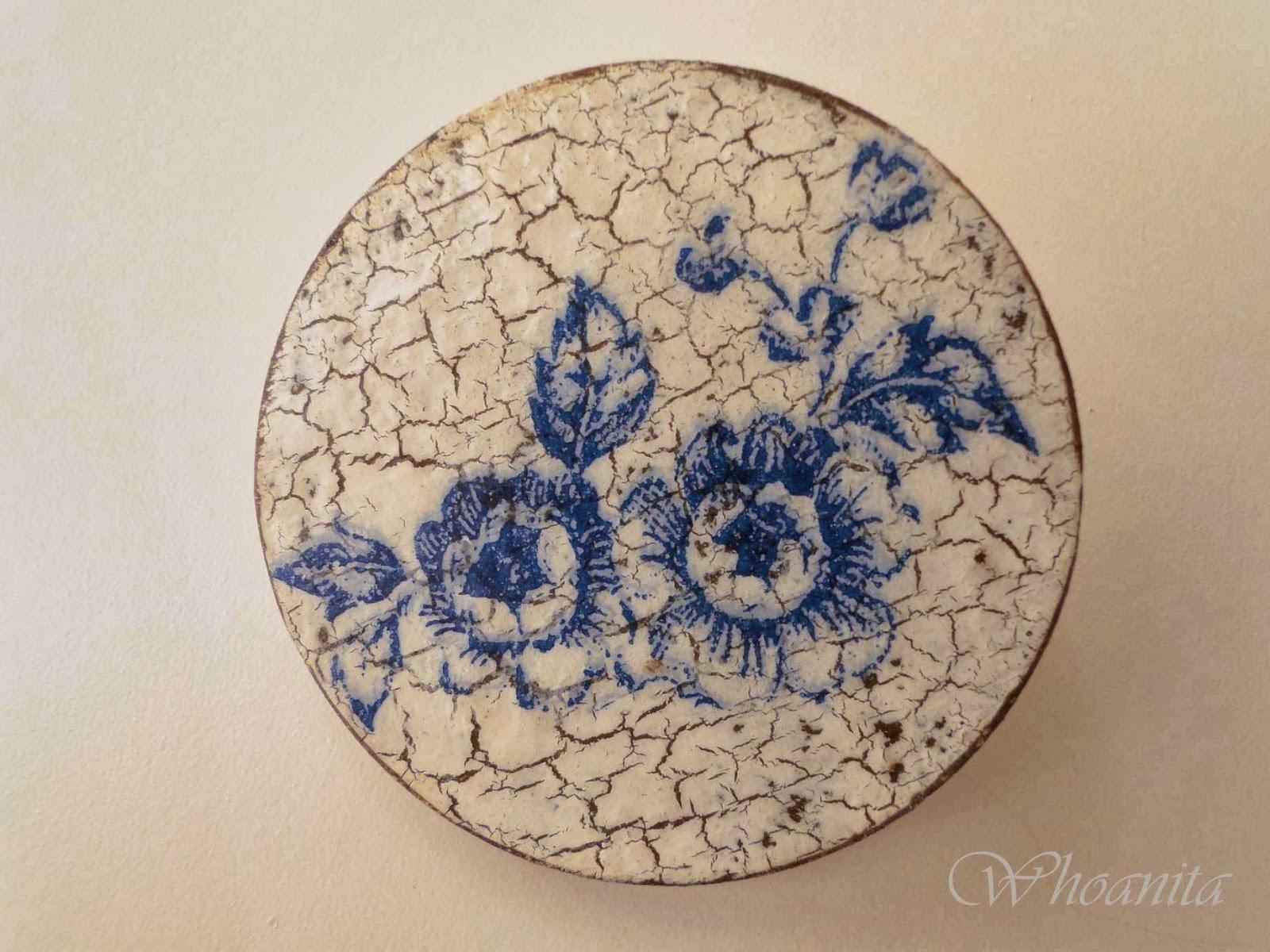 broszka niebieskie róże decoupage