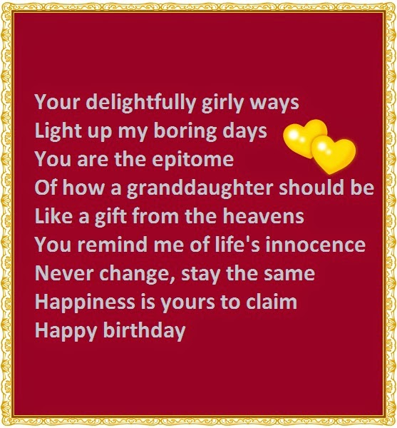 Birthday Wishes Poems For Granddaughter Happy Birthday