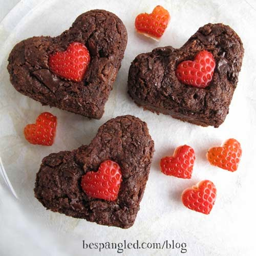 Low Fat Strawberry Brownie Hearts (Valentines Treat)