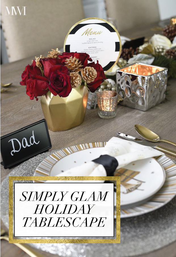 Black, white, gold and red holiday tablescape via monicawantsit.com
