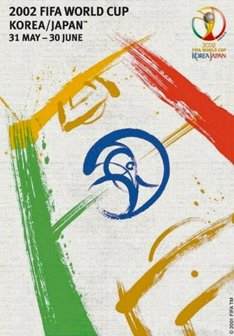 Cartaz e mascotes oficiais da Copa do Mundo realizada em 2002 na Coréia do Sul e no Japão.