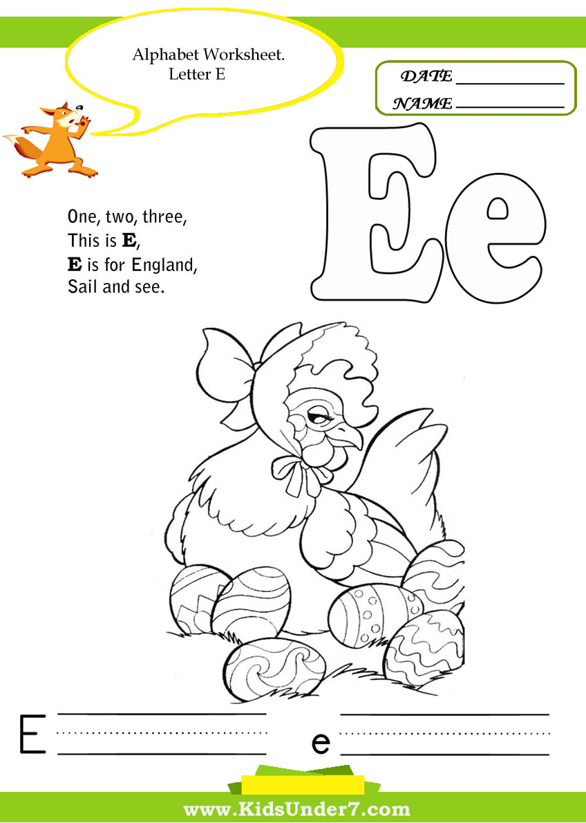 Letter E Handwriting Worksheets Alphabet worksheets for