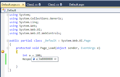Hexa Decimal values displayed during Debug the application