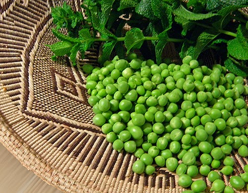 Basket of Peas and Mint