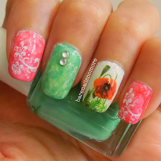 Essie Come Here & First Timer skittle with flower decal
